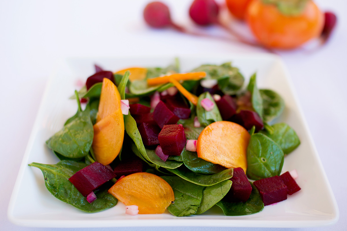 Mary and Sara spinach beet and persimmon salad