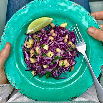 Purple Cabbage Slaw with Pineapple, Cilantro and Lime
